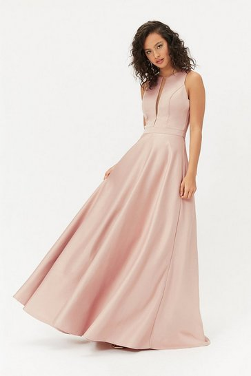 Pink Satin Maxi Tulle Underskirt Dress