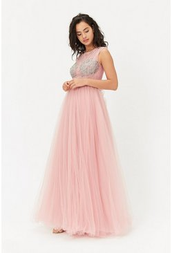 Pink Diamante Tulle Maxi Dress