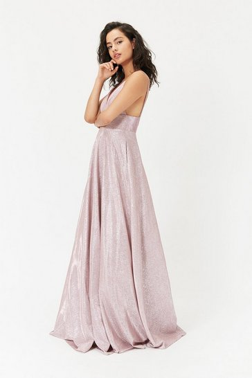 Blush Metallic Strappy Maxi Dress