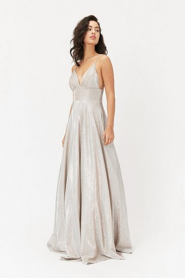 Silver Metallic Strappy Maxi Dress