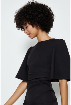 Black Flare Sleeve Crepe Dress