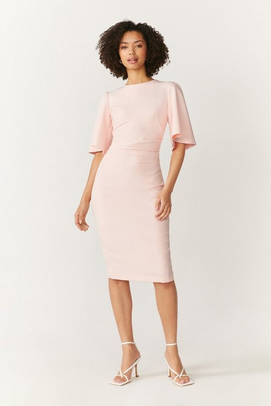 Womens Blush Flare Sleeve Crepe Dress
