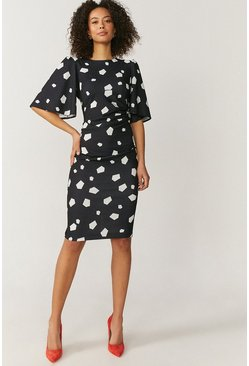 Geo Flare Sleeve Crepe Dress