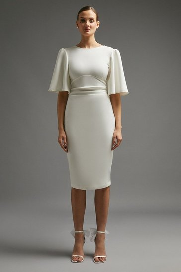 Ivory Flare Sleeve Crepe Dress