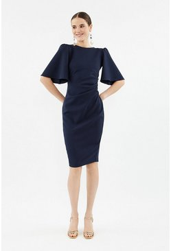Navy Flare Sleeve Crepe Dress