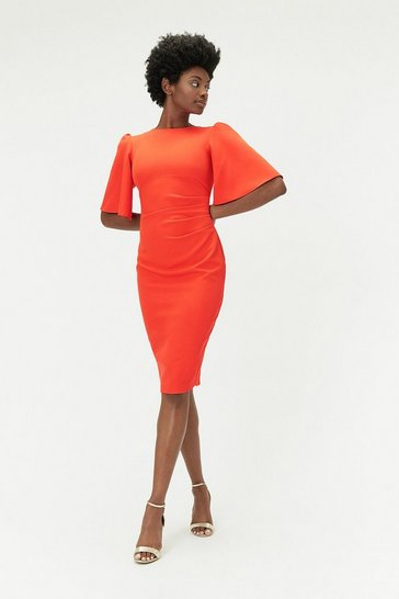 Womens Orange Flare Sleeve Crepe Dress