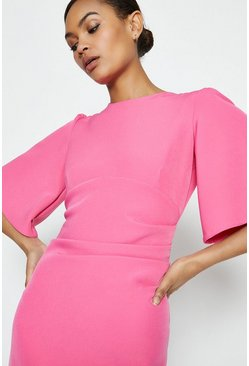Pink Flare Sleeve Crepe Dress