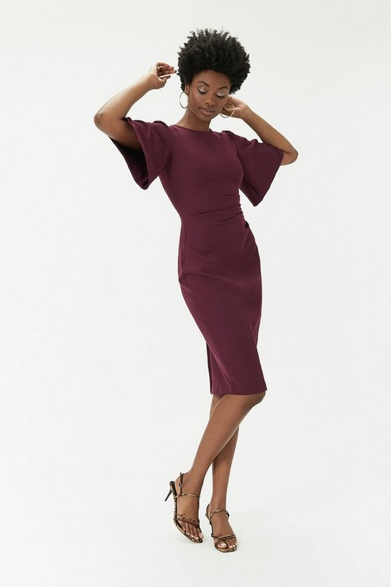 Wine Flare Sleeve Crepe Dress