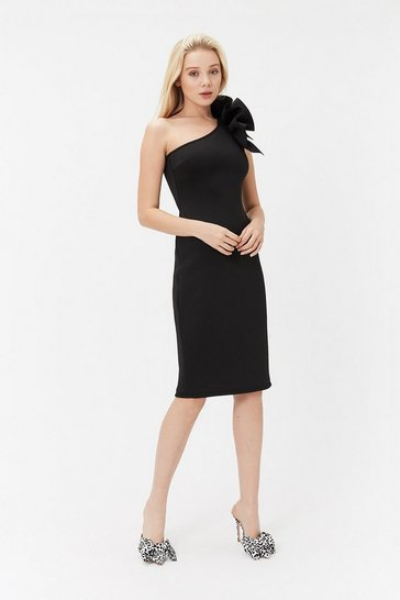 Black One Shoulder Scuba Ruffle Dress