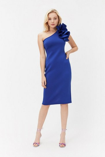Blue Scuba Ruffle One Shoulder Dress