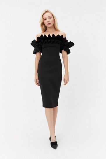Black Scuba Ruffle Bardot Dress