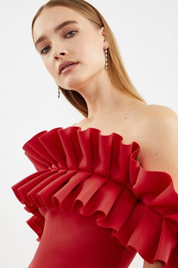 Red Scuba Ruffle Bardot Dress