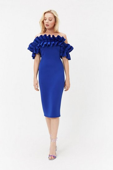 Royal Scuba Ruffle Bardot Dress
