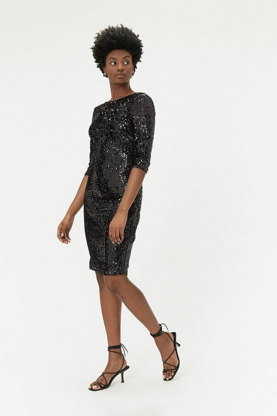 Black Velvet Sequin Dress