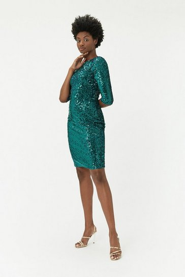Forest Velvet Sequin Dress