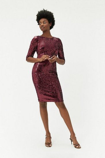 Wine Velvet Sequin Dress