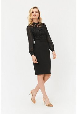 Black Lace Bodice Midi Dress
