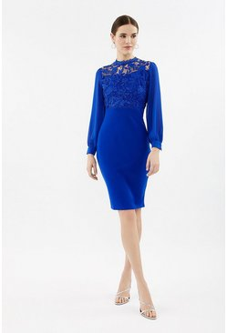 Cobalt Lace Bodice Midi Dress