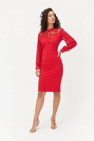 Red Lace Bodice Midi Dress