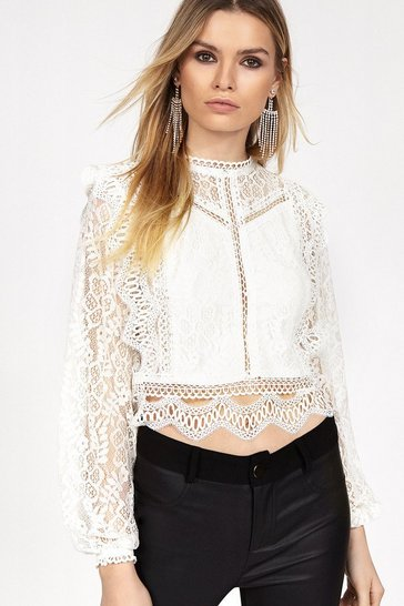 Ivory Long Sleeve Lace Top