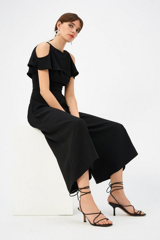 Black Curve Cold Shoulder Jumpsuit