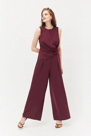 Merlot Sleeveless Twist Front Jumpsuit