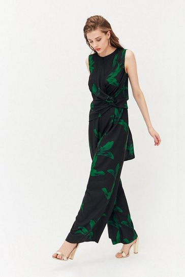 Black Printed Twist Front Jumpsuit