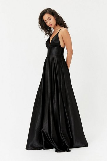 Black Strappy Satin Maxi Dress