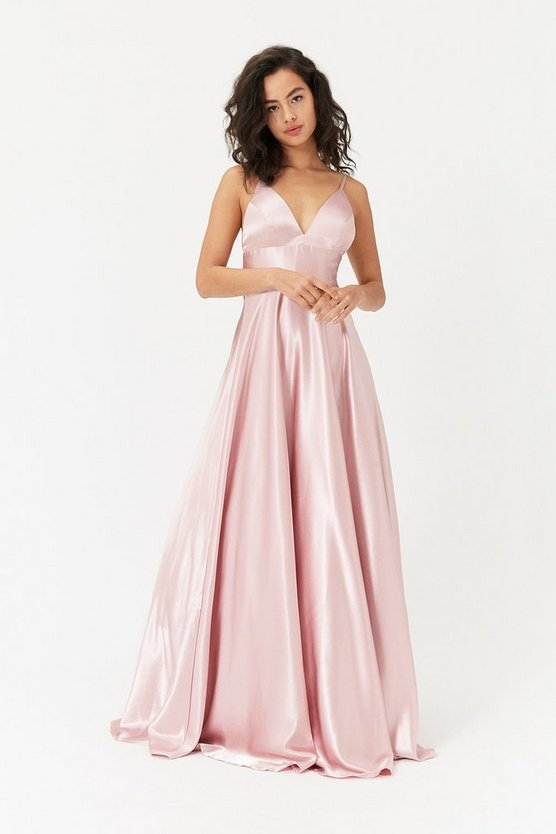 Blush Strappy Satin Maxi Dress
