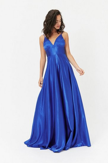 Cobalt Strappy Satin Maxi Dress