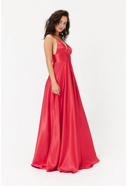 Red Strappy Satin Maxi Dress