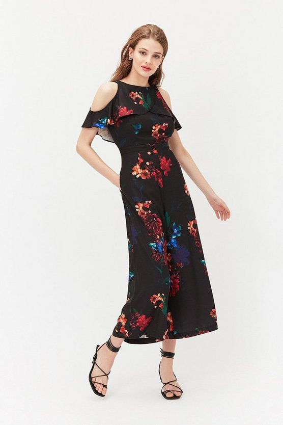 Black Printed Cold Shoulder Jumpsuit