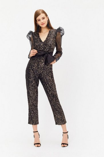 Black Sequin & Satin Waistband Jumpsuit