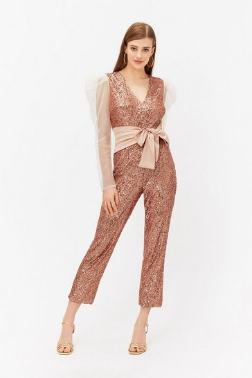 Rose Sequin & Satin Waistband Jumpsuit
