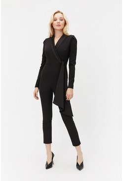 Black Long Sleeve Tux Jumpsuit