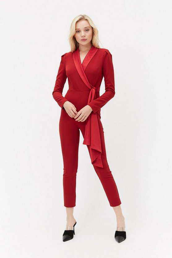 Red Long Sleeve Tux Jumpsuit