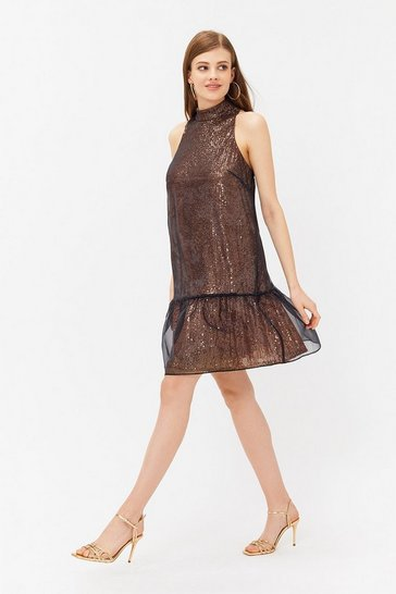 Black Organza Sequin Peplum Hem Dress