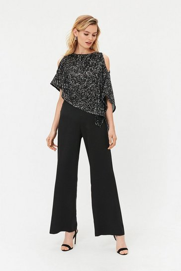 Black Sequin Overlayer Jumpsuit