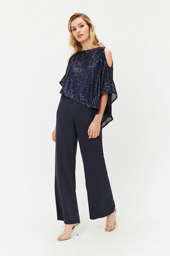 Navy Sequin Overlayer Jumpsuit