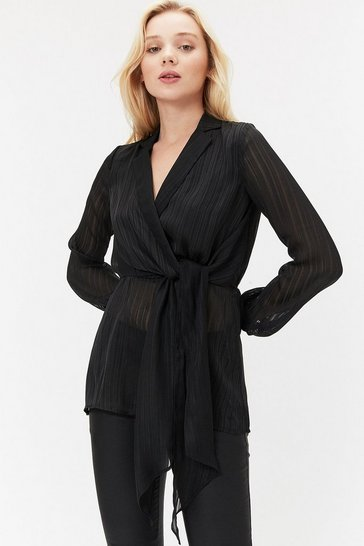 Black Long Sleeve Stripe Burnout Wrap Tie Blouse