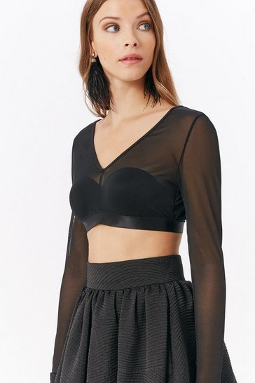 Womens Black Crop Mesh Top