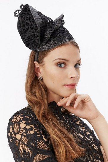 Womens Black Asymmetric Fascinator