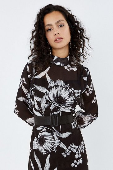 Black High Neck Long Sleeve Belted Printed Dress