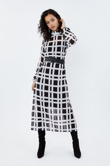 Multi High Neck Long Sleeve Belted Printed Dress