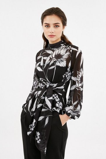 Multi Printed Long Sleeve Tie Waist Top