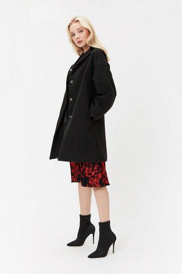 Black High Neck Balloon Sleeve Coat