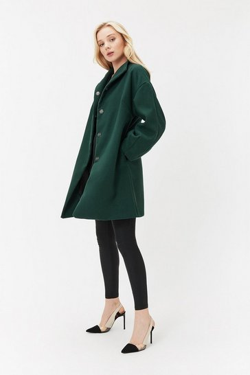 Forest High Neck Balloon Sleeve Coat