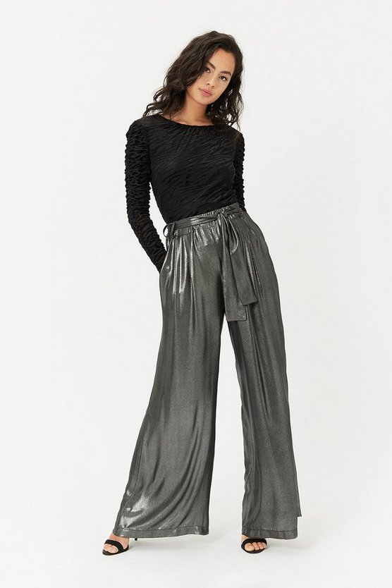 Silver Metallic Wide Leg Trousers
