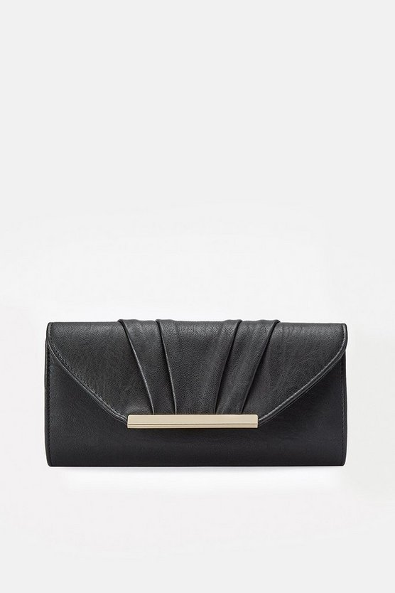 Black Pleated Clutch Bag