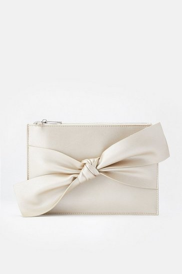 Silver Bow Pouch Bag